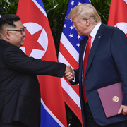 Image of Kim Jong-un and Donald Trump at the Hanoi Summit.
