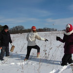 Intro Bio students in the Arb during winter term.