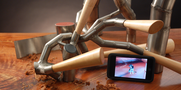 """Stella, sit."" 2013. walnut, maple, stainless steel, epoxy, video"