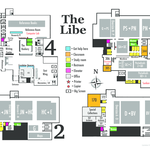 Floor maps for each of the library's four levels.