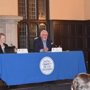 Mayoral candidates Rhonda Pownell (left) and Dana Graham (right) participate in debate at Carleton.