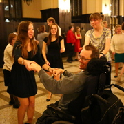 Rachel Gallagher, College Buddies Program Director, dances with her buddy at the Ball.