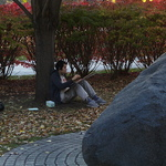 Students enjoy the outdoors as they draw for classes