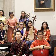 Image of the members of the 2018-19 Chinese Music Ensemble, along with director Gao Hong.