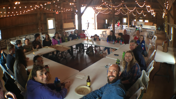 Welcoming gathering for new Environmental Studies majors at Northfield's Red Barn, spring 2018.