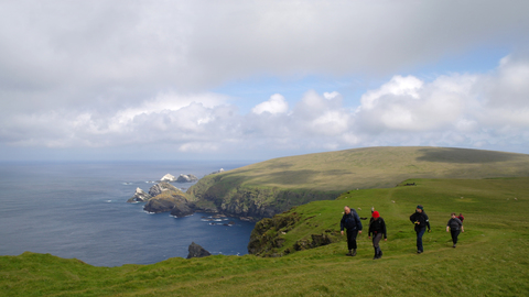 Hiking through Hermaness, Unst, Shetland.