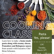 Cooking Class on Tuesday, March 26th.