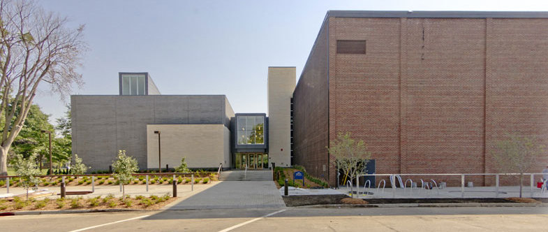 The north entrance of the Weitz Center for Creativity.