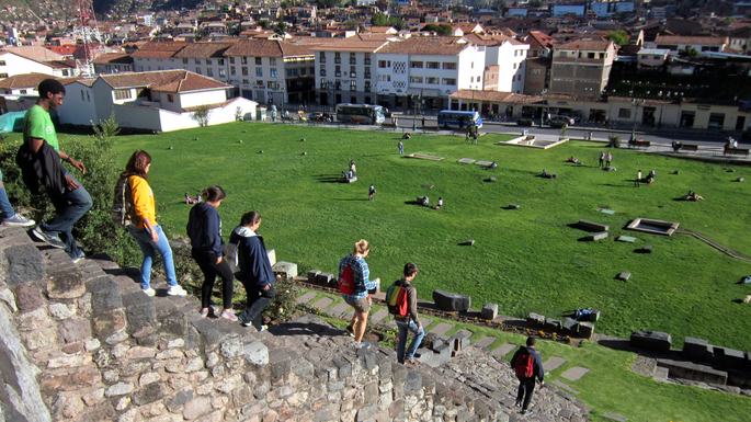 "Qurikancha, an Incan temple colonized and renamed the ""Convent of Santo Domingo"" in Cusco, Peru"