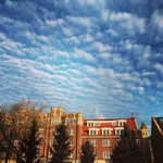 Sunshine, blue skies, and a spectacular formation of cirrocumulous clouds over Davis Hall.
