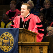 President Poskanzer speaks at his inauguration.