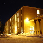 Goodhue Hall in the night