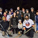 Students engage in an exciting game of Broomball.