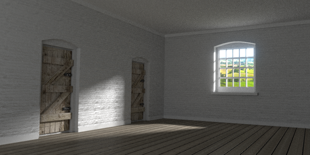 A Blender rendering of a workhouse room by Jeremy Fisher '16.