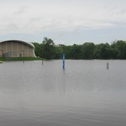 Flooding from the Cannon River surrounds West Gym on June 19, 2014.