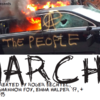 Poster for theater production of Anarchy! (a handbook). Photo of a limo on fire.