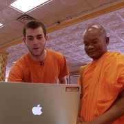 Will Yetvin '18 collaborates w/ Buddhist monk Venerable Vicheth Chum at the Watt Munisotaram temple.
