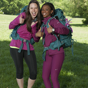 "Maya Warren '07 (right) with her ""Amazing Race"" teammate, Amy DeJong."