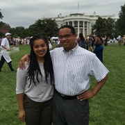 Amirah Ellison '18 and her father, Minnesota congressman Keith Ellison, in Washington, D.C.