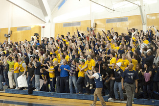 Carleton fans celebrate a Knight victory at historic West Gym.