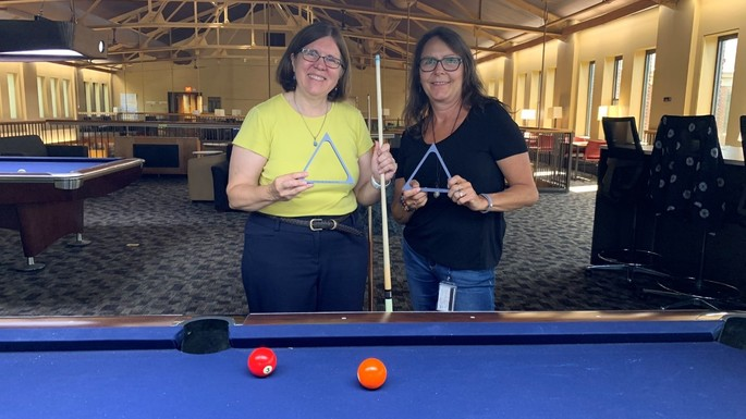 Janet Scannell and Tammy Hanek are the billiards champs!